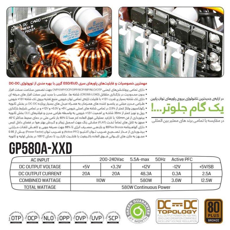 منبع تغذیه کامپیوتر گرین مدل GP580A ESD