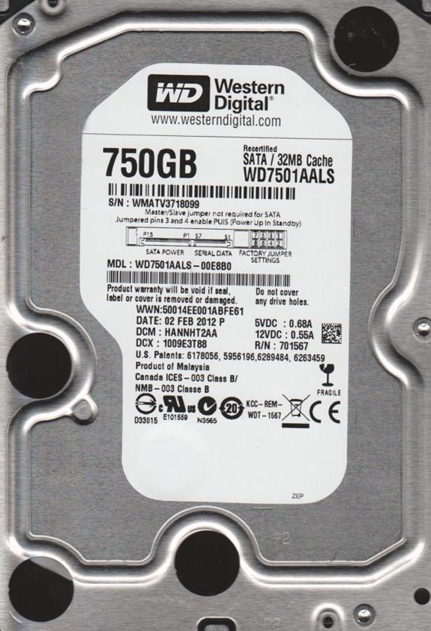 هارد اینترنال وسترن دیجیتال بلک مدل WD7501AALS با ظرفیت 750 گیگابایت