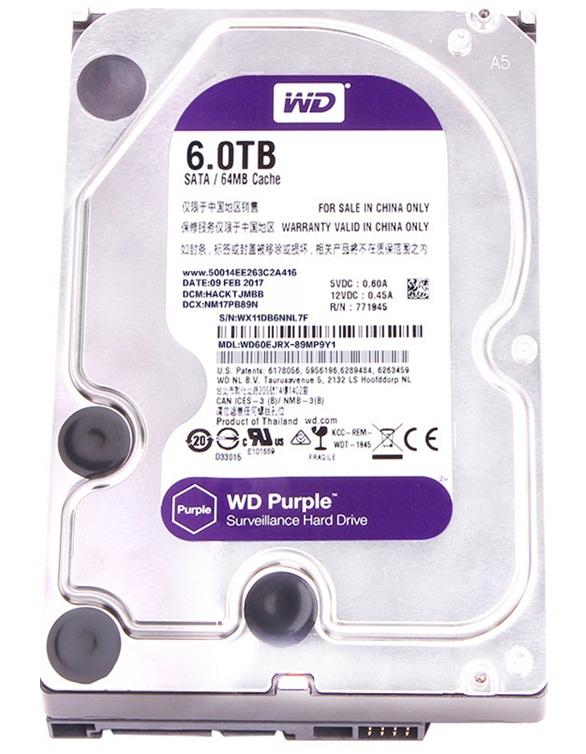 هارددیسک اینترنال وسترن دیجیتال مدل Purple WD60EJRX ظرفیت 6 ترابایت