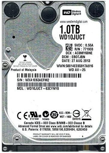 هارد لپ تاپ وسترن دیجیتال مدل WD10JUCT ظرفیت 1 ترابایت