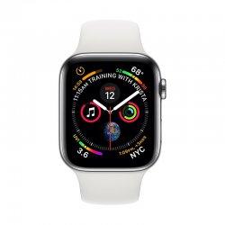 اپل واچ سری 4 مدل 40mm بدنه استیل ضد زنگ به رنگ نقره ای با بند سیلیکونی